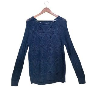 American Eagle Navy Blue Cable Knit Sweater